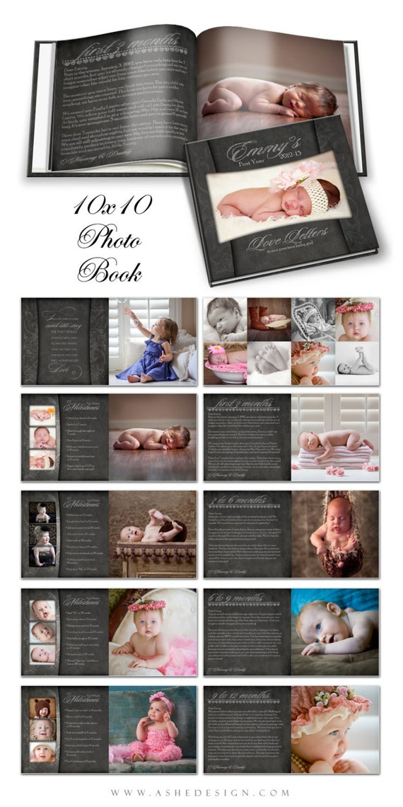 photo book journal baby 39 s first year chalkboard by ashedesign. Black Bedroom Furniture Sets. Home Design Ideas