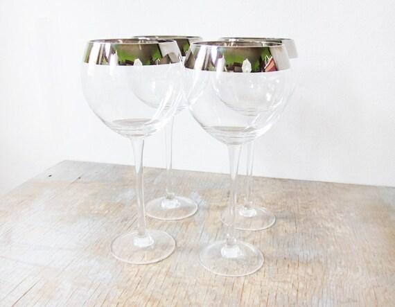 silver rimmed wine glasses four vintage long by rustbeltthreads. Black Bedroom Furniture Sets. Home Design Ideas
