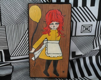 Vintage Red Headed Girl with Yellow Balloon Painting on Wood Wall Hanging