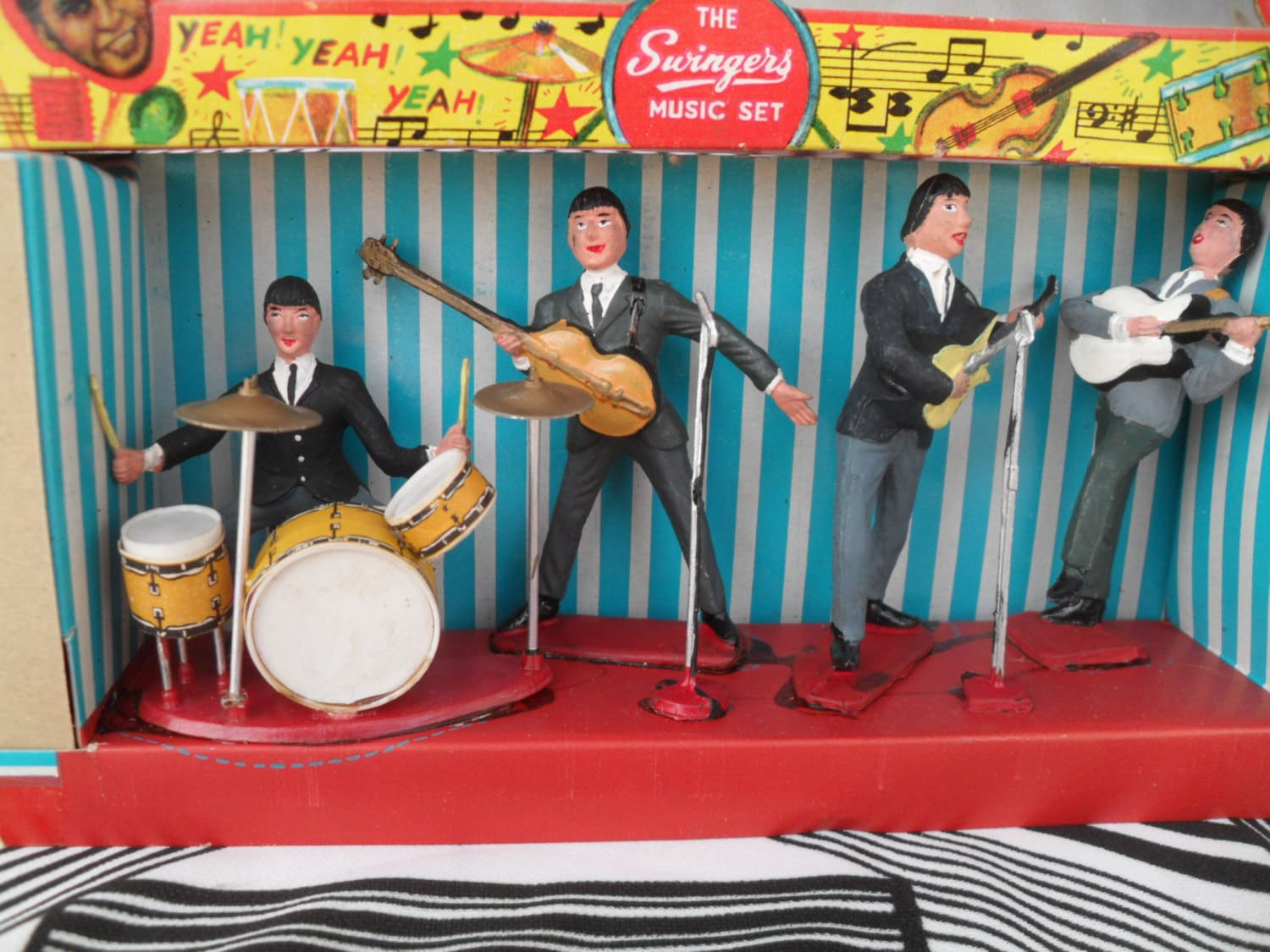 Vintage Toys From The 60s : Vintage beatles swingers set miniature rock n roll music toy