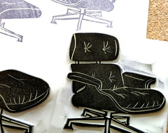 eames chair lounge chair stamp set. furniture hand carved rubber stamp. mid century interior design. home decor gift wrapping. set of 2