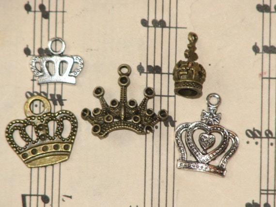 5 Crown Charms - Jewelry, Charms, Scrapbooking, and More