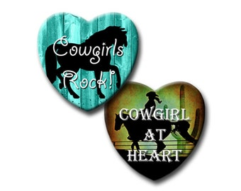 Cowgirl Sayings - 1x1 inch Hearts - Digital collage sheet - Instant download