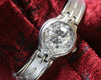 SALE Vintage Clear Pebbled Glass Button Bracelet Vintage Silver Watch Band and Case