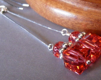 Swarovski Crystal Earrings, Argentium Silver, Dangle, Hand Forged, Prom