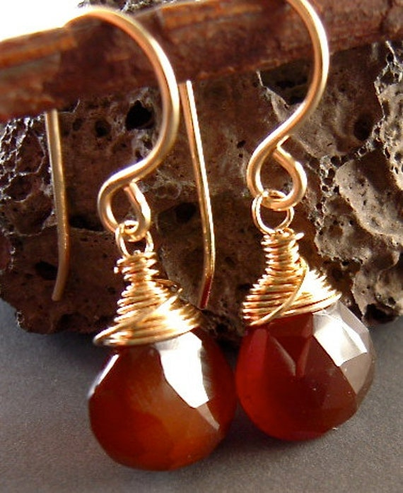 Brown Chalcedony Earrings, Wire Wrapped Dangle, Hand Forged, Hand made