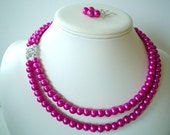 Two Strand Fushia Pearl with Rhinestone Square Pendant Beaded Necklace Set Great for Bridesmaid Gifts