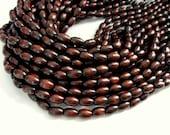 Wood oval beads - Dark Brown Natural Wooden Dye Beads 12x8mm - 50pcs (PB208B)