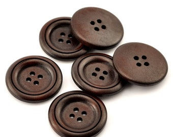 Wine brown Wooden Sewing Buttons 30mm - set of 6 natural circle wood button  (BB134)