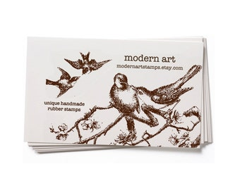 Business Card Stamp   Custom Rubber Stamp   Custom Stamp   Personalized Stamp   Vintage Bird Stamp   Bird Stamp   Vintage Stamp   BC8