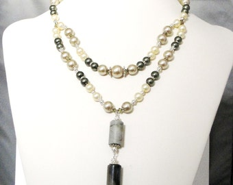 ON SALE! Light & Dark Green Marble and Pearl Layered Necklace