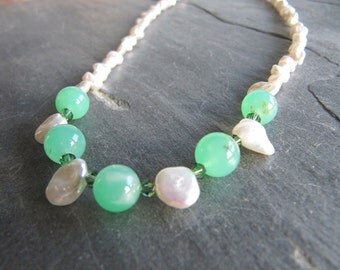 Chrysoprase and Keishi Pearl Necklace