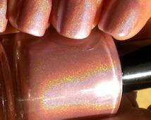 "Pearl Pink Holographic Nail Polish - ""DESERT FLOWER"" - Hand Blended Nail Lacquer- Spectraflair - 0.5 oz Full Sized Bottle"