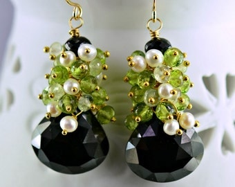 Black Spinel Peridot Dangle Gemstone  Earrings Phrenite Pearls 14k Gold Filled Wire Wrapped Earrings