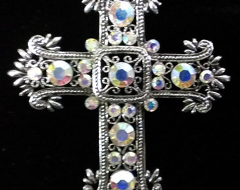 Ornate Crystal and Metal Filigree Cross Pendant for a necklace.