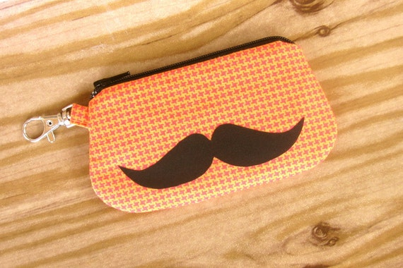 Sale - Card Holder Zipper Wallet - Clip for Key Ring or Bag -  Mustache on Houndstooth Fabric