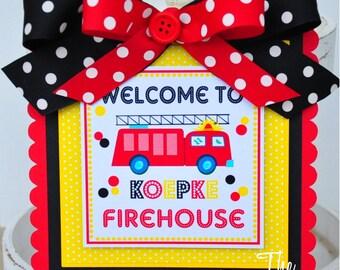 Firetruck  Door Sign, Personalized Door Hanger, Firetruck Birthday Party, Welcome Door Sign