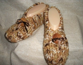 Women's Knitted  Slippers with Wooden Button Size 6, 7, or 8