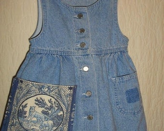 Upcycled 4T Girls Dress Chambray Jumper Toille Dog Pocket Sweetness