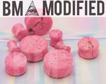 4g (5mm) Acid Wash Pink Stone BMA Modified Plugs Pair