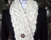 Warm Chunky Wool Cabled Unisex Scarf in off white and light gray with button accent closure