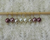 Knitting Stitch Markers - Simple Cafe au Lait Pearls - snag free - round pearl beads - set of 8 - available in three loop sizes
