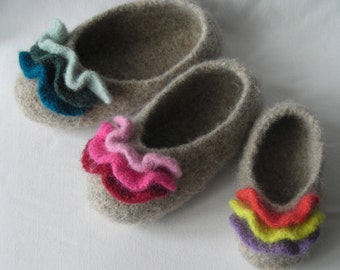 Knitting pattern PDF Slippers - Womens  Girls Felted Ruffle Slippers - DIY gift - permission to resell - easy pattern WORSTED weight yarn