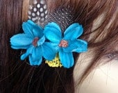 Blue Flower and Guinea Feather Hair Clip