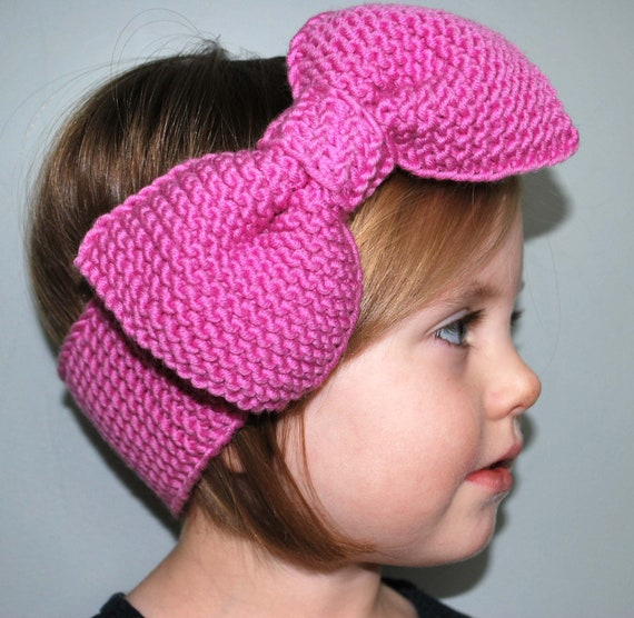 Knitted Headband With Bow Pattern : Items similar to Rosies Bow Knitted Headband Pattern on Etsy