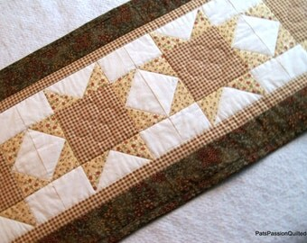 Shabby Chic Quilted Patchwork Table Runner Browns Greens
