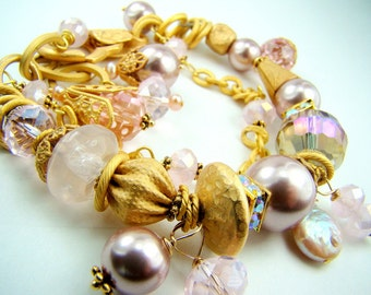 Gold and pink chunky bracelet, pink pearl statement charm bracelet... Golden Rose