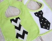 Baby Boy Tie Bib Light Green Set of 2 Dots and Chevron on SALE