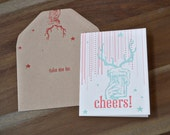 Cheers Deer Beer Letterpress Greeting Card