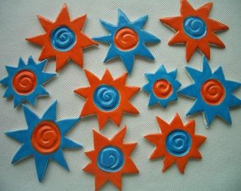 F10 - UNUSUAL 10 pc Swirly Neon SUNS - Ceramic Mosaic Tiles
