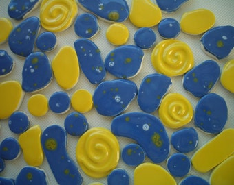 61K - HUGE 61-pc BEAUTIFUL Dots, Swirls Set - Ceramic Mosaic Tiles