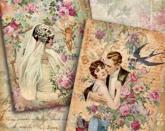 Printable images ROMANTIC DECOUPAGE No2 Digital Collage Sheet 5x7 inch size images Vintage Paper Craft scrapbooking valentine art by ArtCult