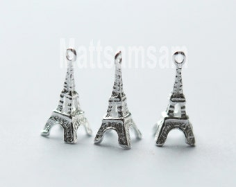 1 x 925 sterling silver Eiffel Tower pendant 6mmx13mm (12145pend)