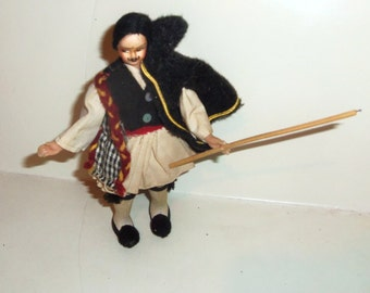 Vintage Lenci type Cloth Doll Greek Soldier Knight Male Doll