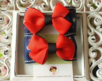 INVENTORY BLOWOUT SALE----Boutique Baby Girl Toddler Hair Bow Clippie Set---Sailor Girl----Navy n Red----Ready to Ship