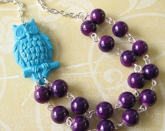 Owl Necklace Owl Jewelry Purple Necklace Animal Necklace Best Friend Gift Friendship Necklace