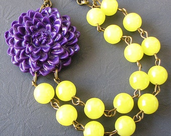 Flower Necklace Purple Jewelry Statement Necklace Yellow Jewelry Bridesmaid Jewelry Multi Strand Necklace Gift For Her