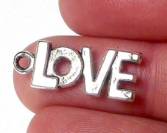 LOVE charm, Pewter Charm, pewter love charm, Jewelry Supply, necklace charm, bracelet charm, jewelry making, silver charm, pewter fob