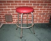 Vintage 1930s Art Deco Sturdy Industrial Metal Shop Stool with Red Vinyl Seat