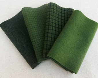 """Hand Dyed Wool Felt, CYPRESS, Four 6.5"""" x 16"""" pieces in Deep Mossy Green, Perfect for Rug Hooking, Applique and Crafts"""