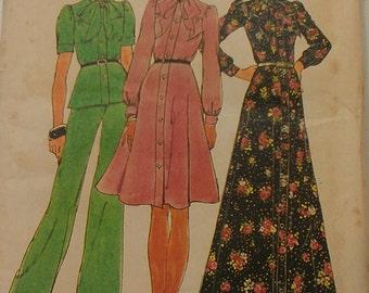 1970s Button Front Dress Top Pants Size 14 Simplicity 6664