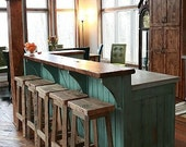 """YOUR Reclaimed Rustic and Recycled Oak Barn Wood Rectangle Top Bar Stool with a 18"""" - 36"""" Tall seats with FREE SHIPPING - REBS118"""