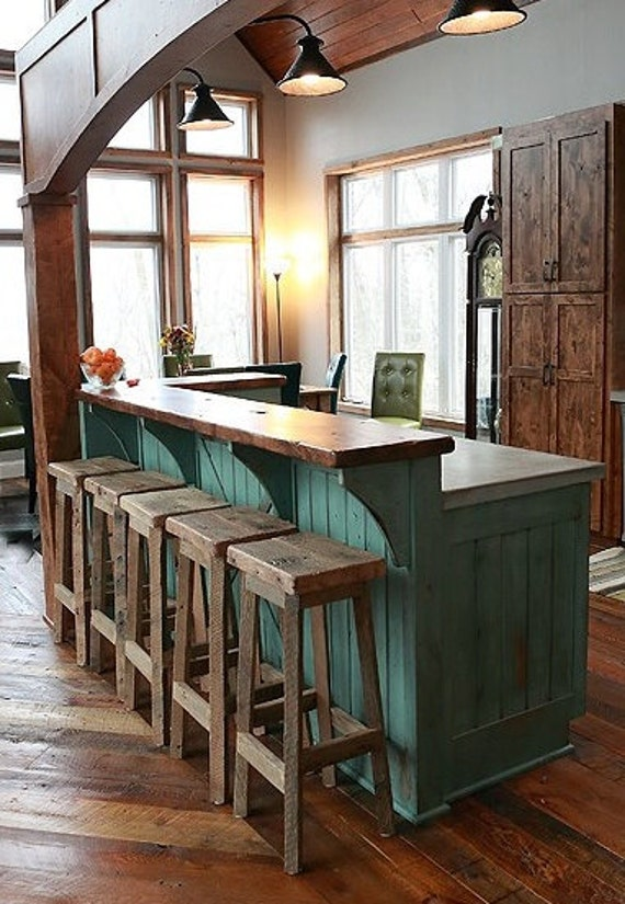 "YOUR Reclaimed Rustic and Recycled Oak Barn Wood Rectangle Top Bar Stool with a 18"" - 36"" Tall seats with FREE SHIPPING - REBS118"