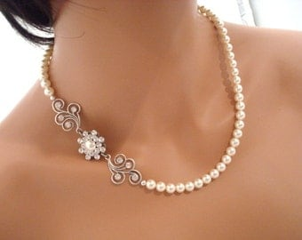Bridal pearl necklace, wedding jewelry, vintage style necklace, Swarovski pearl and crystal necklace, bridal jewelry