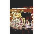 Wolf Art, Winter Landscape, Southwestern Wolves, Native American Totem Animal, Burgundy Yellow, Home Decor, Wall Hanging, Small Giclee Print