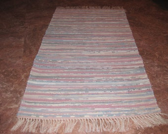 Handwoven Mauve and Blue Multi Rag Rug 25 x 42 (M)